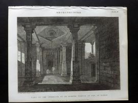 Rees 1820 Print Part of the Interior of an Hindoo Temple at Deo, in Bahar, India